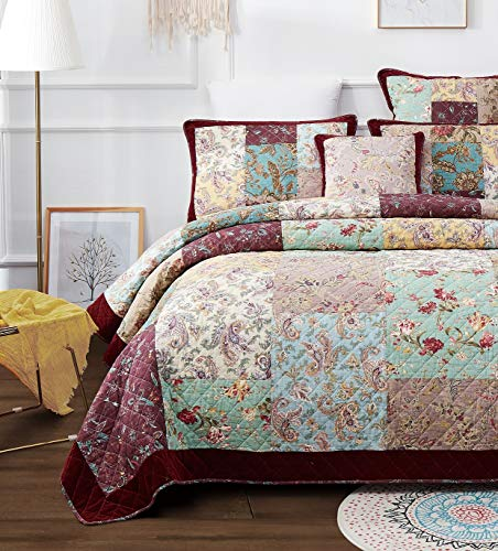 DaDa Bedding Bohemian Patchwork Bedspread - Cotton Burgundy Wine Velvety Trim - Vintage Floral Roses Paisley - Bright Vibrant Multi-Colorful Quilted Set - King - 3-Pieces (Quilt Garden Dream Collection)