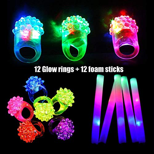 12pcs Flashing Glow Rings and 12pcs Foam Sticks Set, Taotuo 24 Pack LED Glow in The Dark Party Supplies Set, Mixed Colorful Jelly Rubber Finger Lights Party Favors for Birthday, Weddings, Christmas, Halloween