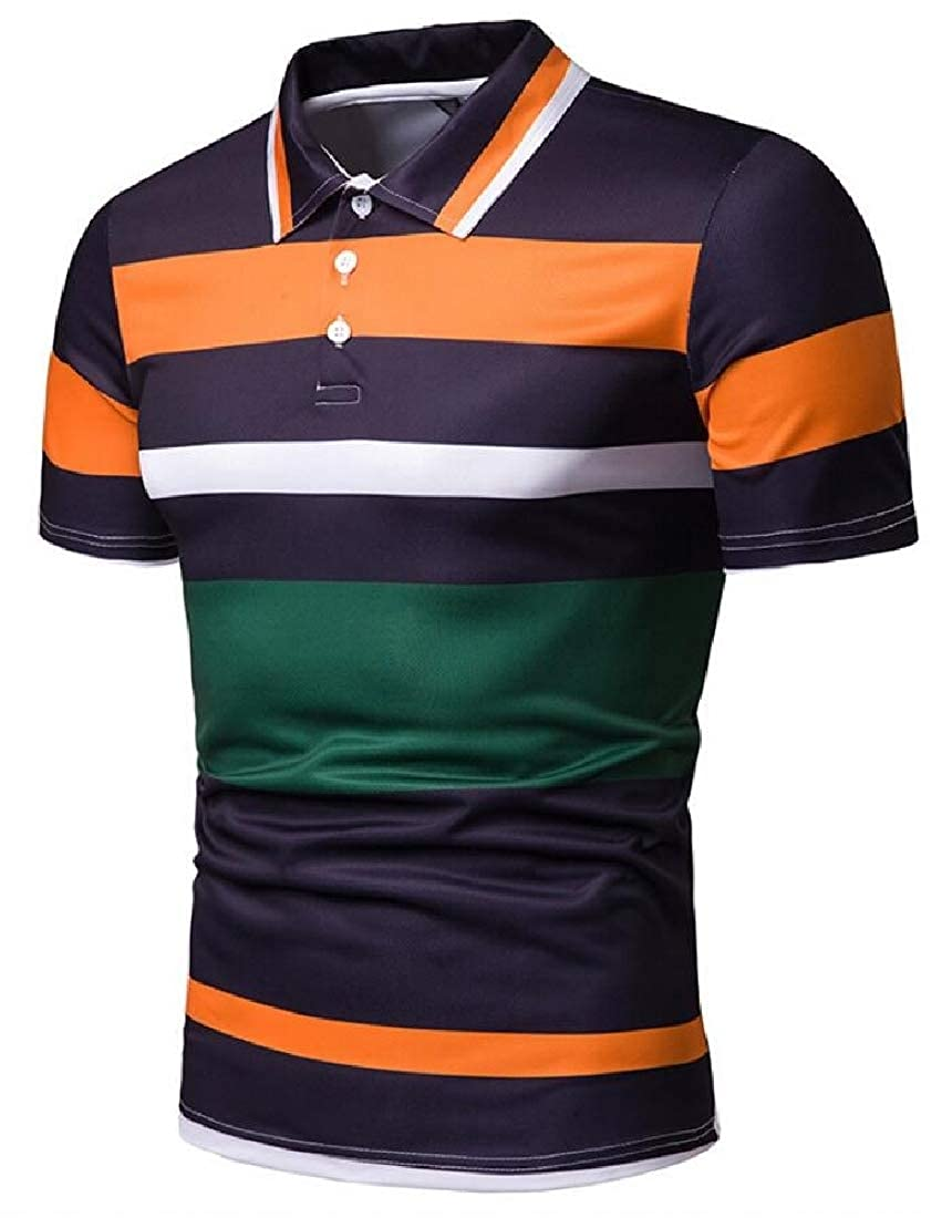 CYJ-shiba Mens Leisure Short Sleeve Lapel Color Block Regular Fit T-Shirt Polo Shirt