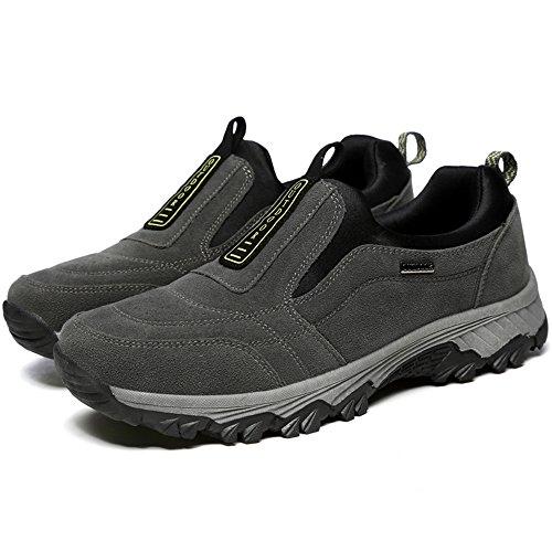 VILOCY Herren Draussen Wandern Schuhe Anti-Rutsch Draussen Trekking Weg Sneaker Stiefel Grau