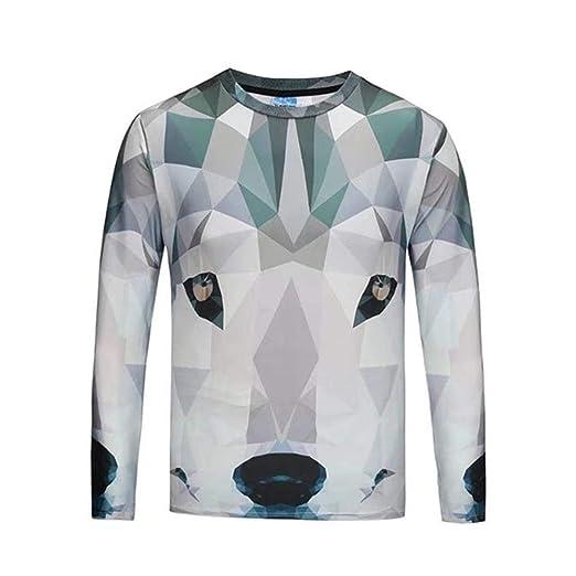 d83d6b0bc6b1 3D Printing Wolf T-Shirt Fashion Long Sleeve T-Shirt Men T-Shirt ...