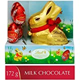 Lindt Easter Gold Bunny & Lindor Eggs Milk Chocolate Gift Box, (1 x 100g + 4 x 18g), 5 Count, 172g