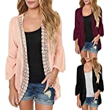 ClearanceWomensBlouses,KIKOY Casual Solid Lace Long Sleeve Chiffon Cardigan Loose Kimono Tops