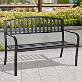 New MTN-G 50'' Patio Garden Bench Park Yard Outdoor Furniture Steel Slats Porch Chair Seat
