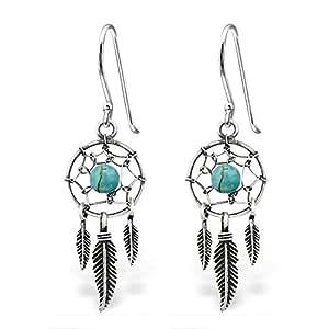 ed5e6e28d Amazon.com: 925 Sterling Silver Dream Catcher & Dangling Feathers w ...