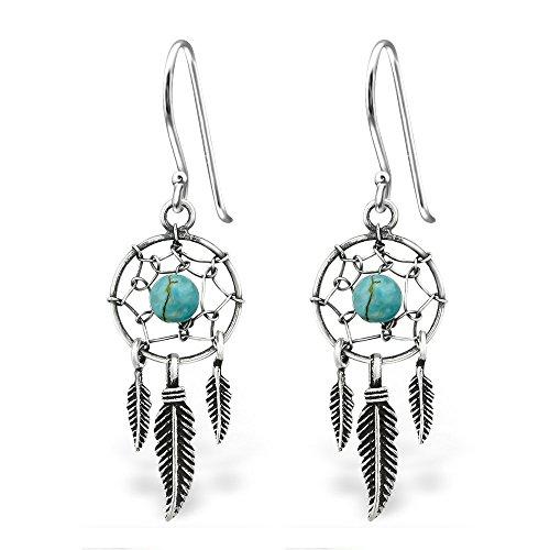 925 Sterling Silver Dream Catcher & Dangling Feathers w/ Turquoise Fishhook Earrings 30827 (Nickel -