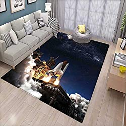 Galaxy Door Mats Area Rug Shuttle on Take Off Discovery Mission to Explore Galaxy Spaceship Solar Adventure Bath Mat Non Slip Blue White