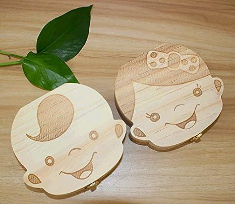 Leisial Nette Kinder Junge M/ädchen Milch Z/ähne Holz Aufbewahrungs Souvenirbox Zahnk/ästchen Organizer f/ür Baby Speichern in Deutsche Sprache, Junge
