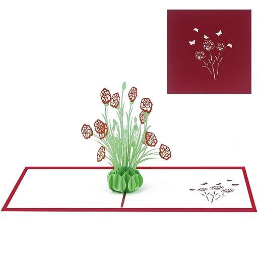 WERTYUPY Tarjeta de felicitación 3D Clavel Flor Día de la ...