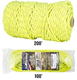 TOUGH-GRID New 700lb Double-Reflective Paracord/Parachute Cord - 2 Vibrant Retro-Reflective Strands for The Ultimate High-Visibility Cord - 100% Nylon - Made in USA - 200Ft. Neon Yellow Reflective