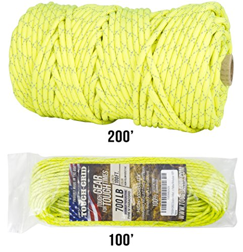 TOUGH-GRID New 700lb Double-Reflective Paracord/Parachute Cord - 2 Vibrant Retro-Reflective Strands for The Ultimate High-Visibility Cord - 100% Nylon - Made in USA - 200Ft. Neon Yellow Reflective by TOUGH-GRID (Image #6)