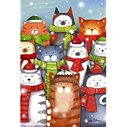 Toland Home Garden Cat Caroling 12.5 x 18 Inch Decorative Colorful Winter Kitty Christmas Carol Singing Garden Flag