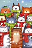 Toland Home Garden Cat Caroling 12.5 x 18 Inch Decorative Colorful Winter Kitty Christmas Carol...