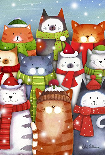 Toland Cat Caroling 12.5 x 18 Colorful Kitty Singing Winter