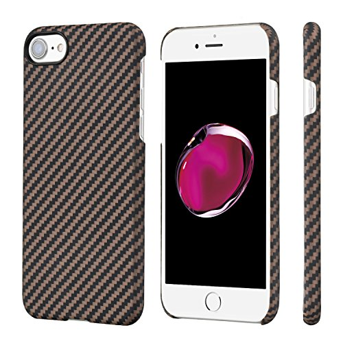 PITAKA Slim Case Compatible with iPhone 8/7 4.7, Aramid Fiber [Real Body Armor Material] Phone Case,Minimalist Strongest Durable Snugly Fit Snap-on Case - Black/Golden