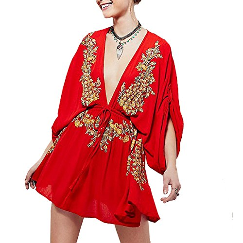 RVivimos Women#039s Summer Bat Sleeves Vintage Floral Embroidered Deep V Neck Cotton Boho Swing Short Dress