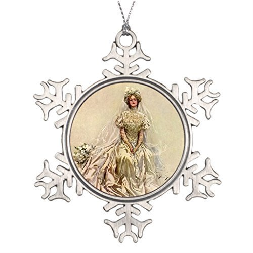 EvelynDavid Snowflake Ornament Custom Christmas Snowflake Ornaments Bride Vintage Victorian Bride Flowers Bridal Portrait Outdoor Tree Snowflake Ornaments