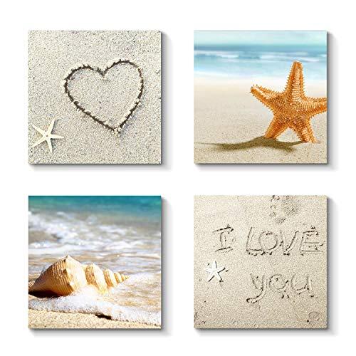 (Grander Group Sandy Beach Artwork Coastal Picture - Shell & Sea Star Art Print on Canvas for)