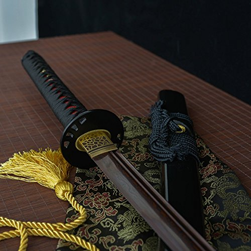 Handmade Katana Red Black Damascus Folded Steel Sword Sharp Edge Katnan Full Tang Blade Sword (Folded Steel Samurai Sword)