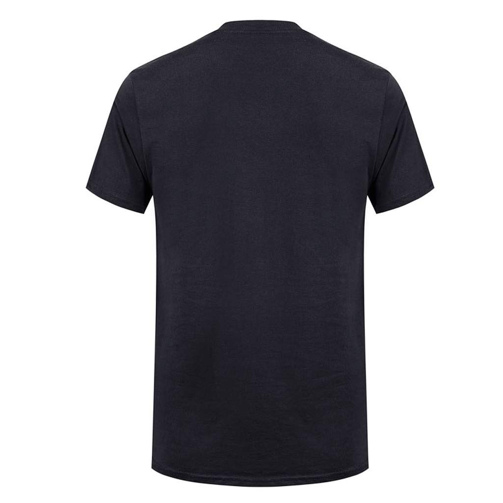 Allywit-Mens Spring Summer Casual Fashion Cute Printing O-Neck Short Sleeve Cotton T-Shirt Black by Allywit-Mens (Image #2)
