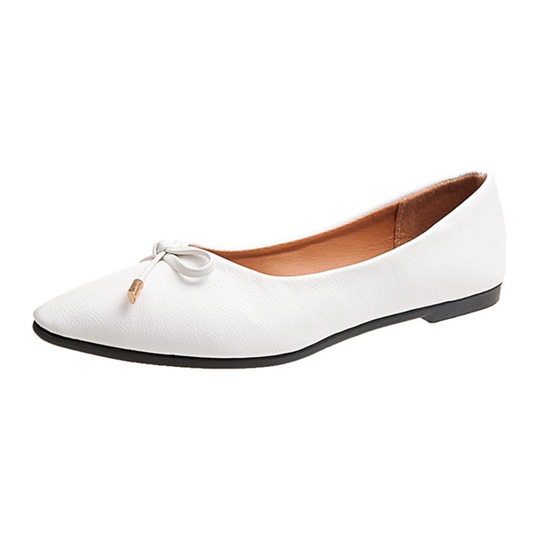 OverDose 18032 Ballerines en Cuir Pointure Large, Blanc Cuir Chaussures Plates Femme Mocassins avec Nœud Mules Casual Flat Blanc 1bbf302 - boatplans.space