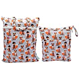 Baby Wet/Dry Bag Splice Cloth Diaper Waterproof Bags Large and Small Size with Zipper Snap Handle Pack of 2 (Foxes)