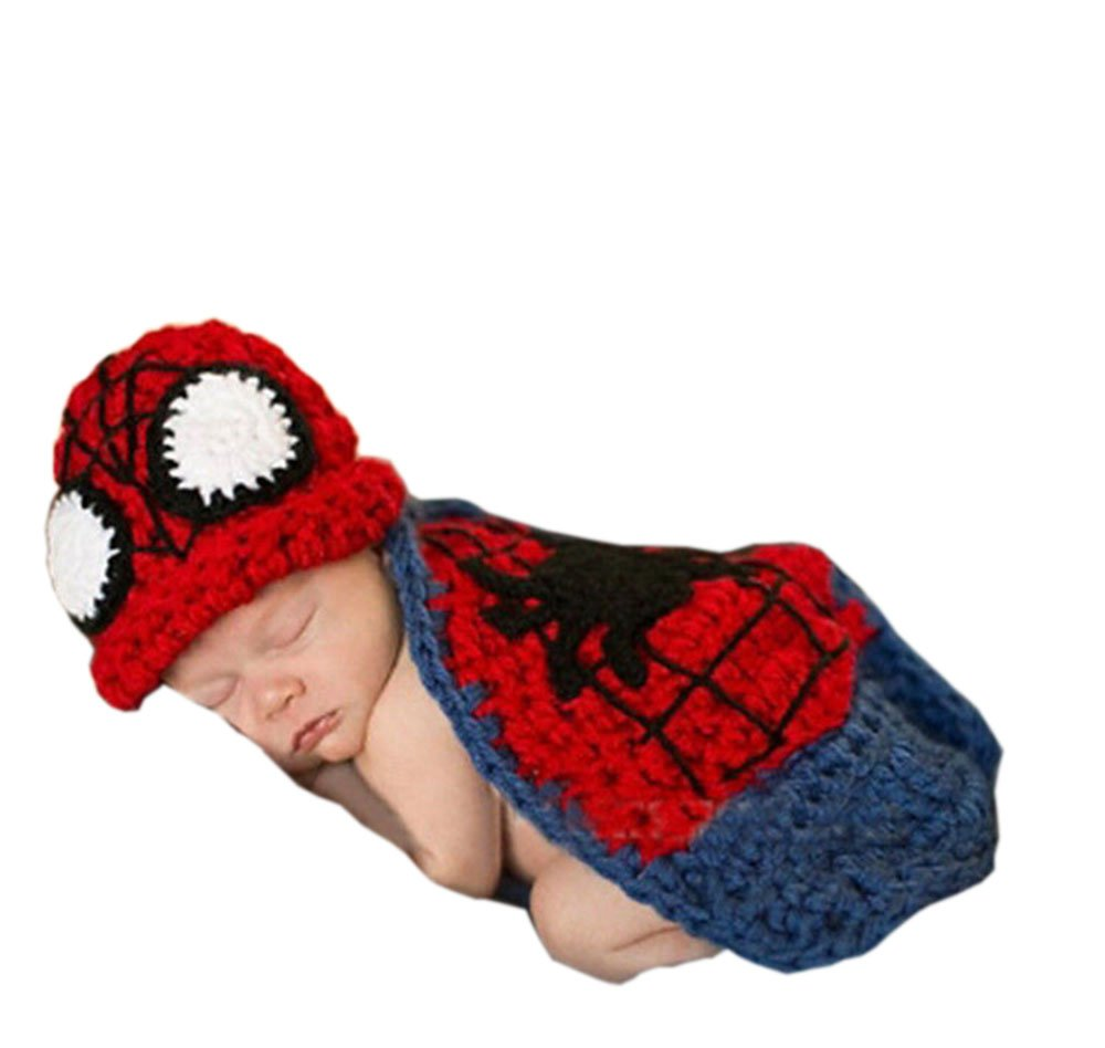 Pinbo Newborn Baby Photography Prop Crochet Knitted Spider-man Hat Cover by Pinbo