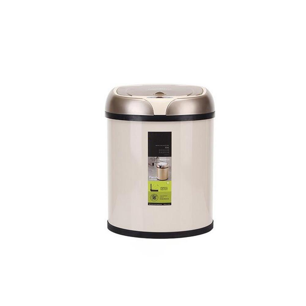 amazon Acier Inoxydable Capteur Intelligent Poubelle Cuisine Des Toilettes Domestiques Charge Automatique Poubelle Bin Footless , Ivory pas cher prix