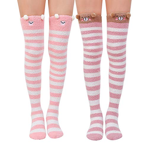 Skola Super Soft Warm Fuzzy over the Knee High Long Winter Cozy Slipper Socks -1 or 2 Pairs-Value Pack (Pink Monkey Bear) -