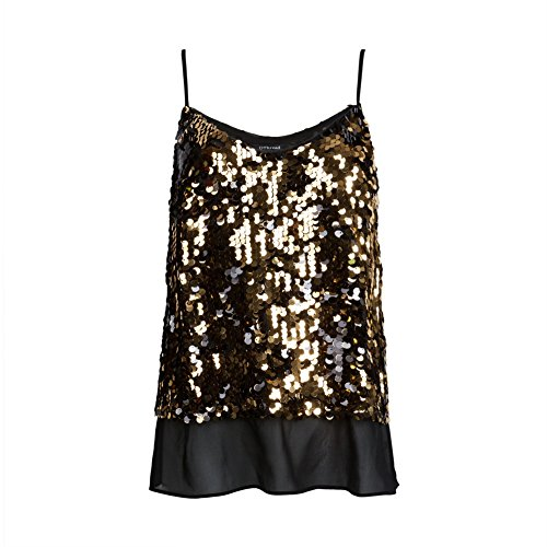 OThread & Co. Women's Glitter Sequins Strap Tank Top Cami Blouse (Small, ()