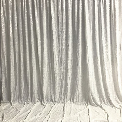 - Zdada Seamless Not Through Sequin Backdrop 6ftx8ft-White,Sequin Curtain Backdrop Photo Booth Wedding Props Glitter Party Satin Background Decorations (White)
