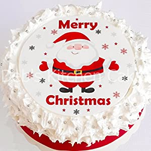 Edible Cake Decorations For Christmas : Christmas Cake Topper - Santa Cake Decoration - Edible ...
