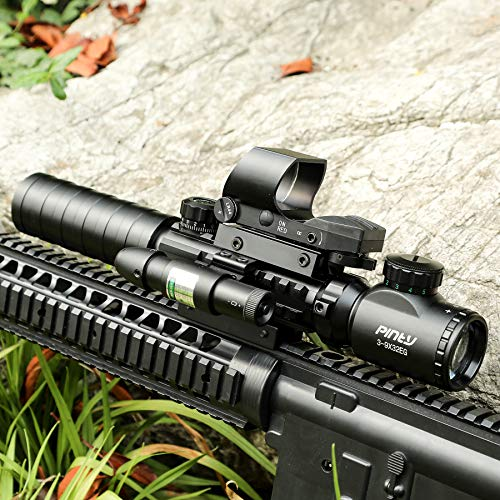 51s%2BbSRmppL - Pinty AR15 Rifle Scope 3-9x32EG Rangefinder Illuminated Optics Reflex 4 Reticle Red&Green Sight Green Dot Laser Sight with 22 & 11mm Weaver/Picatinny Rail Mount