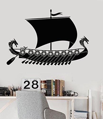 (Large Vinyl Wall Decal Viking Ship Scandinavian Children's Rooms Stickers (049ig) Matte Black )