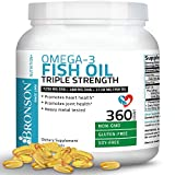 Bronson Omega 3 Fish Oil Triple Strength 2720 mg, Non-GMO, Gluten Free, Soy Free, Heavy Metal Tested, 1250 EPA 488 DHA, 360 Softgels
