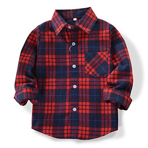 OCHENTA Little Kids Boys' Girls' Long Sleeve Button Down Plaid Flannel Shirt E009 Navy Red Tag 130CM - 5 Year -
