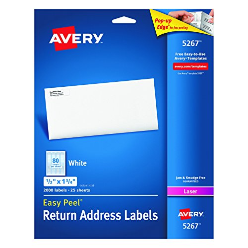 "Avery Easy Peel Return Address Labels for Laser Printers 1/2"" x 1-3/4"", Box of 2,000 (5267)"