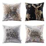 Ashler Merry Christmas Set of 4 100% Cotton Golden Leaf Reindeer & Snow Throw Pillow Covers 18