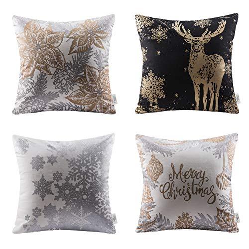 Ashler Merry Christmas Set of 4 100% Cotton Golden Leaf Reindeer & Snow Throw Pillow Covers 18 x 18 45 cm x 45 cm