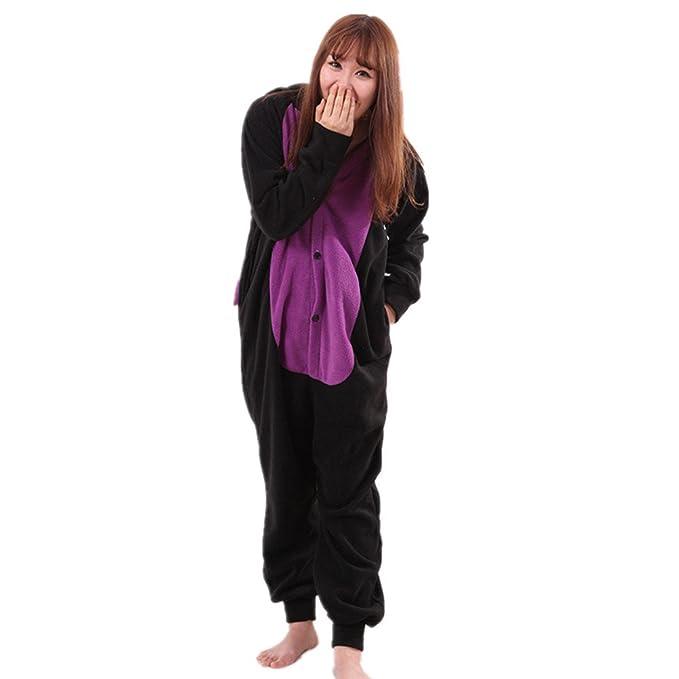 BOMOVO Pijamas Unisexo Adulto Traje Disfraz Adulto Animal Pyjamas Dragón Negro vellón