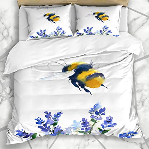 Ahawoso Duvet Cover Sets King 90x104 Painting Yellow Bumble Watercolor Bumblebee Flying Over Blue Flowers Wildlife Bee Honey Artistic Microfiber Bedding with 2 Pillow Shams