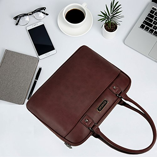 Laptop Bag for Women,15.6 Inch Laptop Tote Bag for Bussiness Work,Most Convenient Full Open Zipper Design[L0009/Coffee] by EDODAY (Image #3)