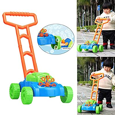 ✅Bubble Machine Auto Spillproof Bubble Blowing Baby Walker Trolley Lawn Mower Outdoor Garden Toy Bubble Maker Blower for Kids : Baby