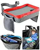 Kids Travel Play Tray Bag - Childrens Car Seat Buggy Pushchair Lap Tray (Red)