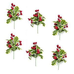 M2cbridge Pack of 6 Christmas Red Berries Artificial Holiday Floral Picks Ornaments 6