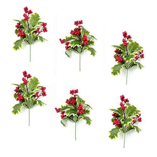 M2cbridge Pack of 6 Christmas Red Berries Artificial Holiday Floral Picks Ornaments ()