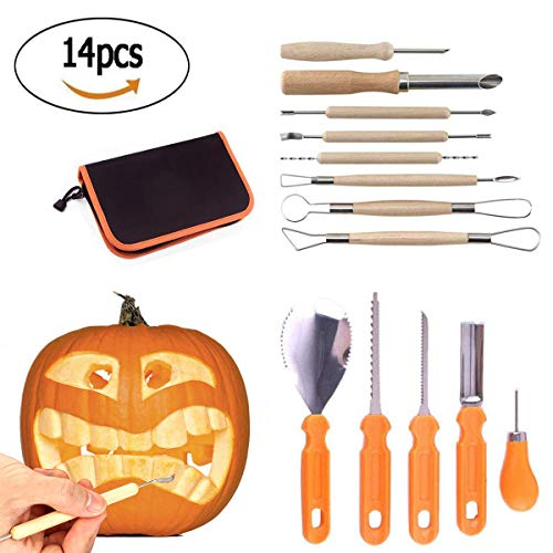 Pumpkin Carving Kit Halloween Creative 14 Pieces of Sturdy Stainless Steel Pumpkin Carving Tool Fruit and Vegetable Carved Kitchen Tools DIY Pumpkin Light Decoration ()
