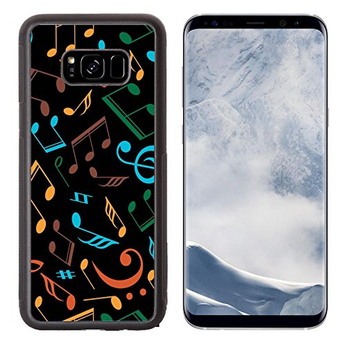 Luxlady Samsung Galaxy S8 Plus S8+ Aluminum Backplate Bumper Snap Case IMAGE ID: 31446270 Vector musical pattern with notes