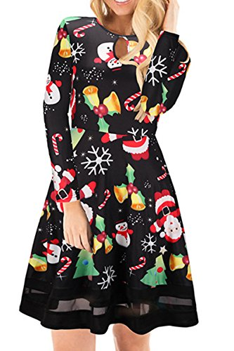 Candy Party Dress (Boosouly Round Neck Keyhole Long Sleeve Xmas Bell&candle Mini Dress For Women Party Black 1 XL)