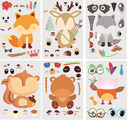 30Pack Make A Woodland Creatures Stickers - Party Supplies for Baby Shower Decorations & Birthday Party Supplies, Woodland Animals Include Fox, Owl, Bear, Squirrel, Deer, Raccoon (Woodland) ()